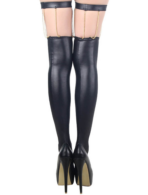 Sexy faux leather sexy plus size stockings lingerie