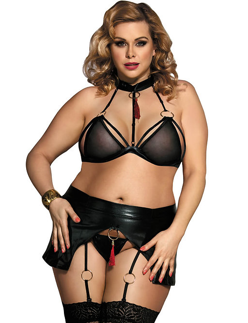 Sexy black bondage plus size lingerie set