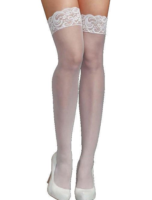 Sexy white sheer and lace stockings lingerie