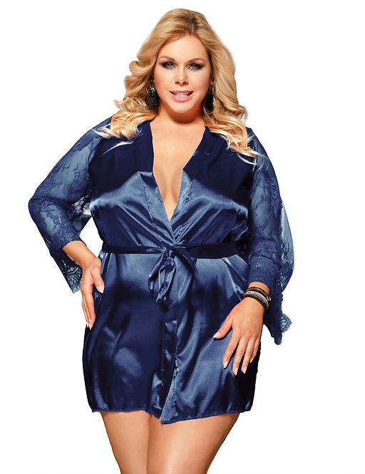 Sexy blue lace and satin plus size lingerie gown