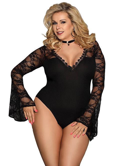 Sexy black long sleeve plus size lingerie bodysuit