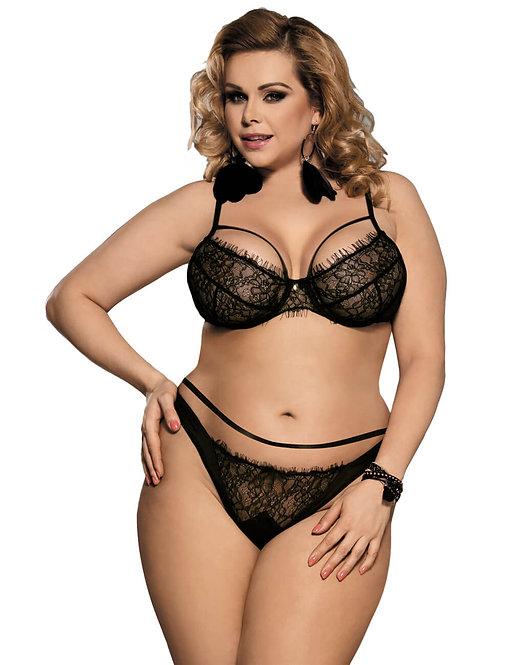 Sexy black lace strappy bralette plus size lingerie set