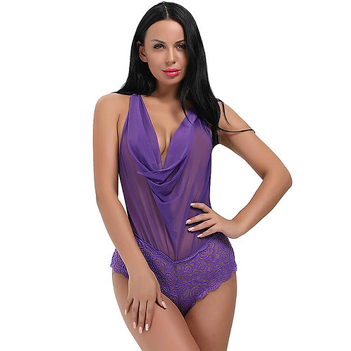 Sexy purple sheer and lace plus size lingerie bodysuit