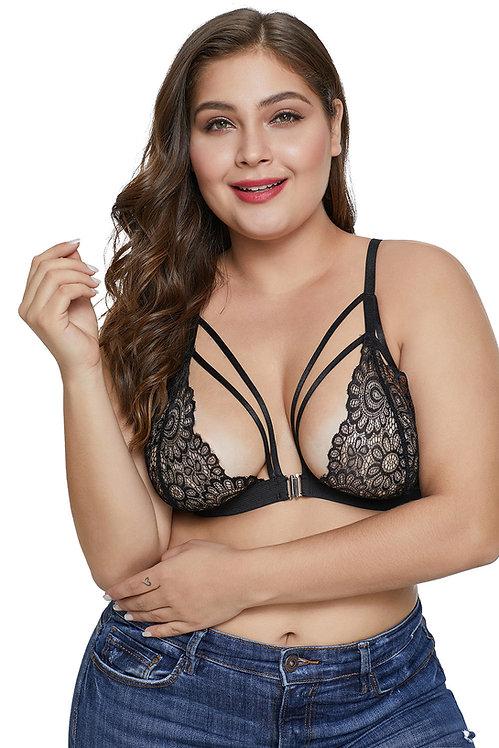 Sexy black lace plus size lingerie bralette