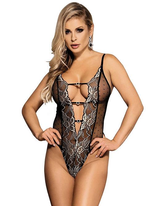 Sexy black and silver lace plus size lingerie bodysuit
