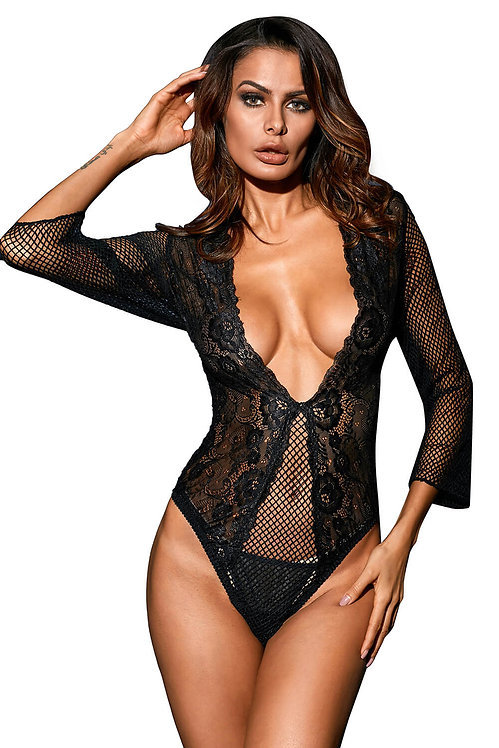 Sexy black lace and mesh long sleeve lingerie teddy