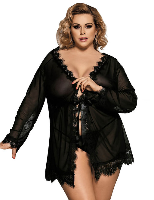 Sexy black sheer and lace plus size lingerie gown