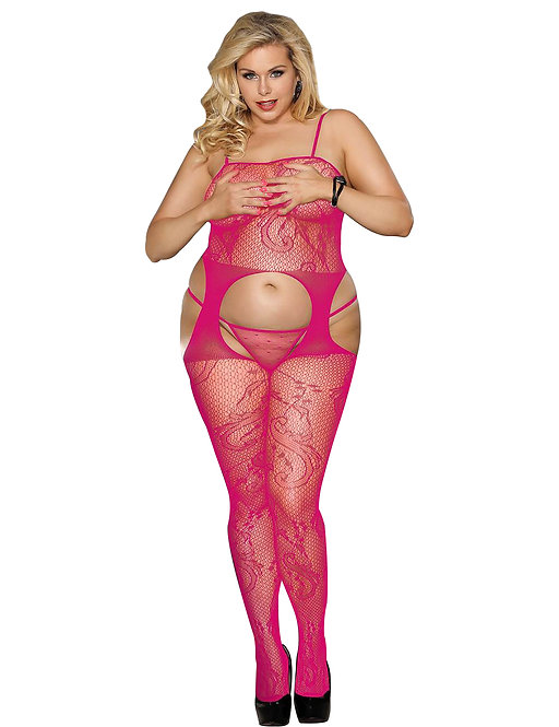 Sexy pink fishnet plus size lingerie bodystocking