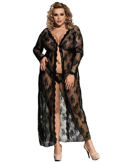 Sexy black lace plus size lingerie robe