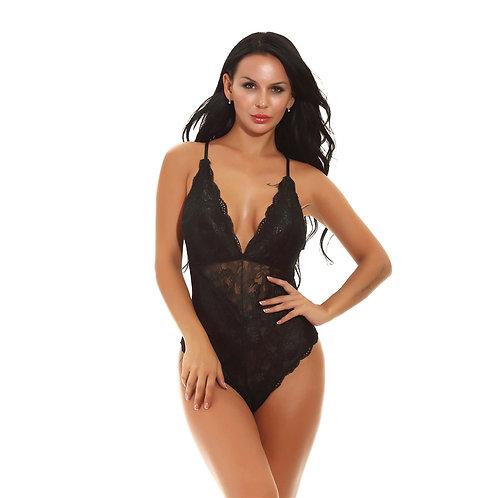 Sexy black lace plus size lingerie bodysuit
