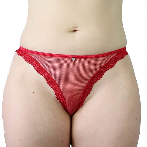 Sexy red cheeky cut mesh plus size lingerie panties