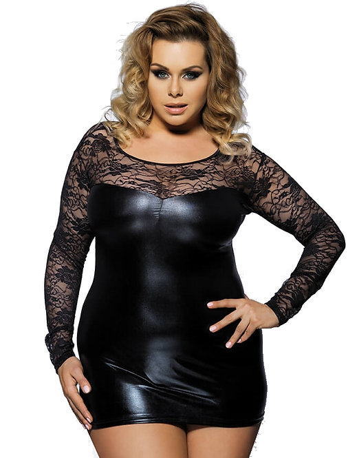 Sexy black long sleeve faux leather plus size babydoll