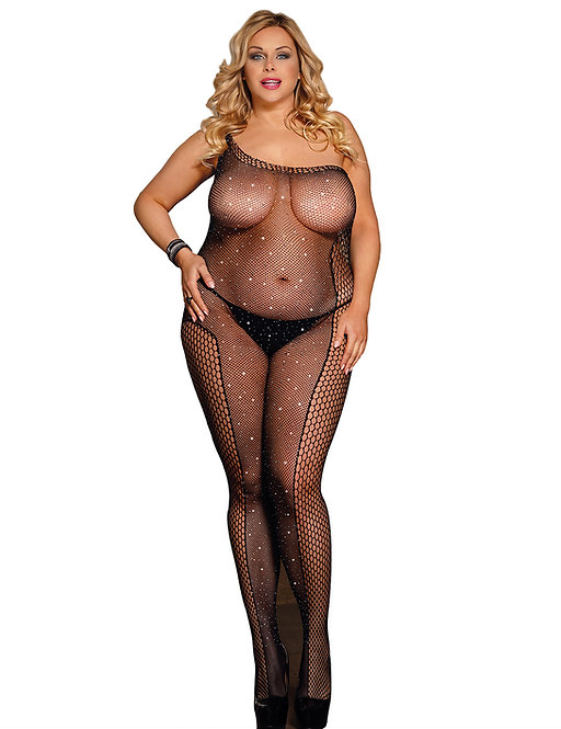 Sexy black plus size lingerie bodystocking