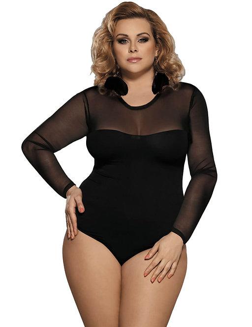 Sexy black sheer long sleeve plus size lingerie bodysuit