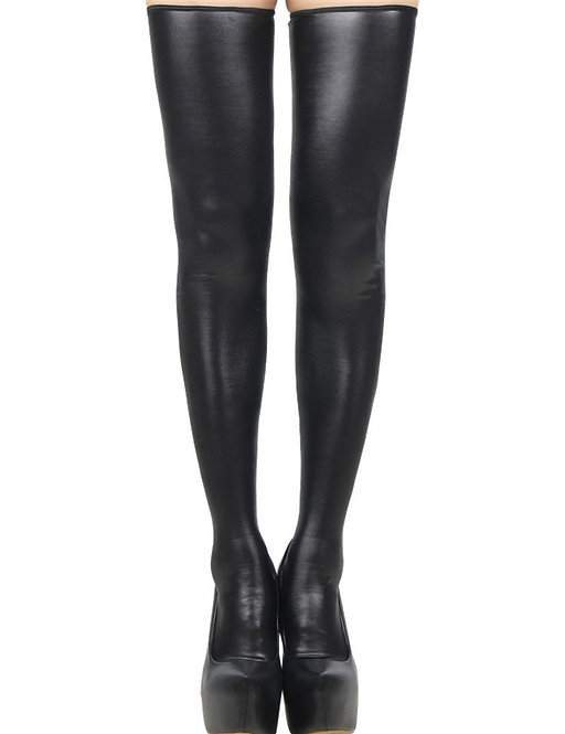 Black faux leather thigh high plus size lingerie stockings