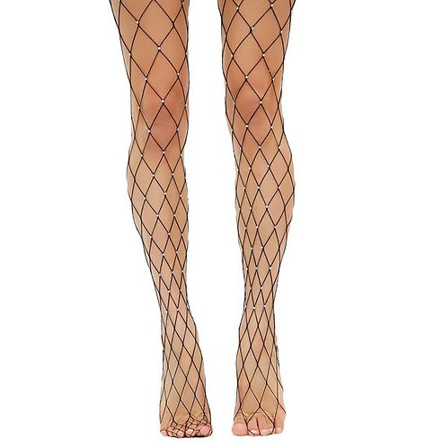 Black fishnet rhinestone stockings
