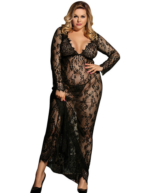 Sexy black lace plus size gown