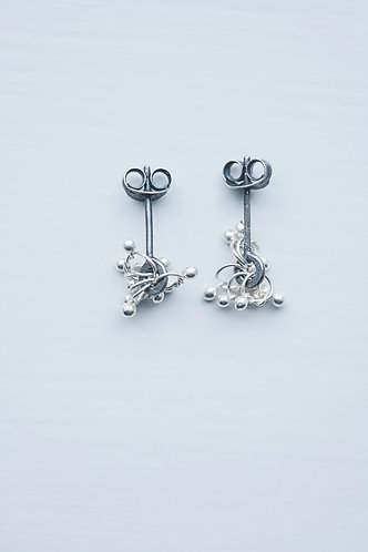 Oxidised studs fine silver knots