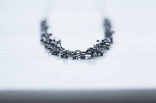 "Oxidised fine silver knot necklace on superfine 16"" curb chain"