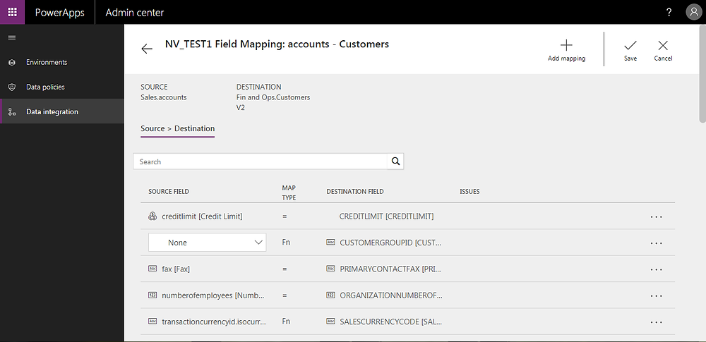Dynamics 365 finance and operations integration Fields mapping