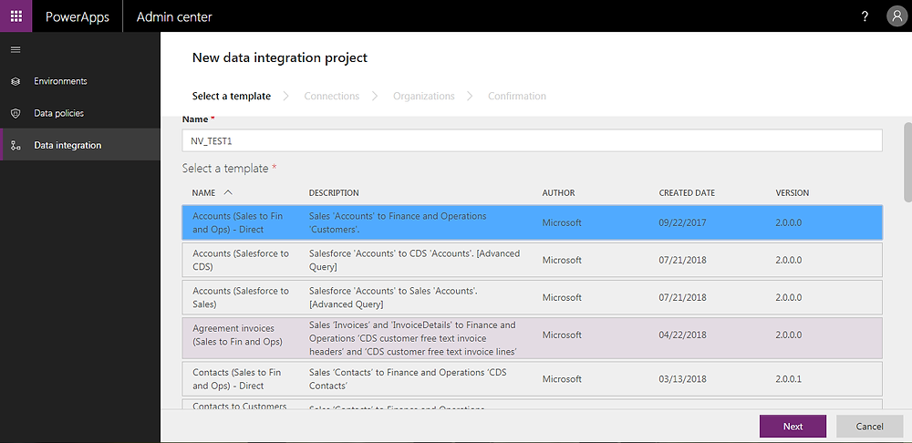 Dynamics 365 finance and operations integration Default templates