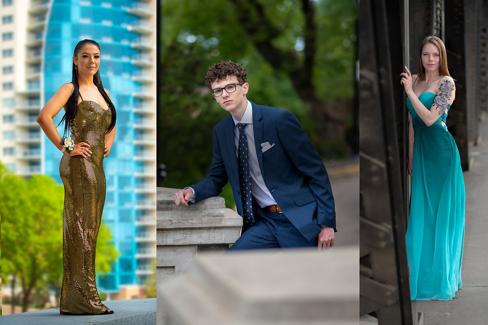 composite image from young grad students in their grad outfits
