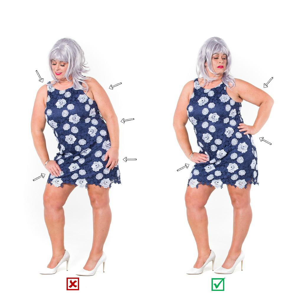 Model posing, posing guide, heels, dress, photographers helping to pose