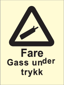 Varselskilt - Fare Gass under trykk