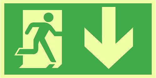 Nød- og rømningsskilt -  Løpende mann - pil ned / NRS608