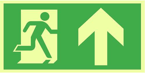 Nød- og rømningsskilt - Løpende mann _ Pil opp