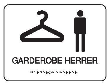 Taktile piktogramskilt - Garderobe herrer