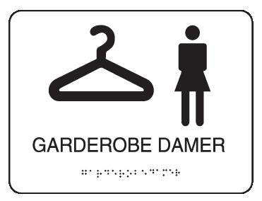 Taktile piktogramskilt - Garderobe damer