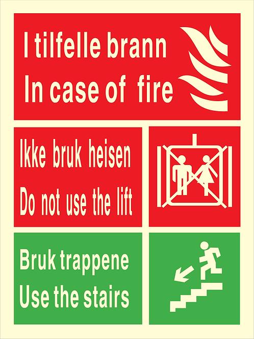 Nød- og rømningsskilt - Ikke bruk heis