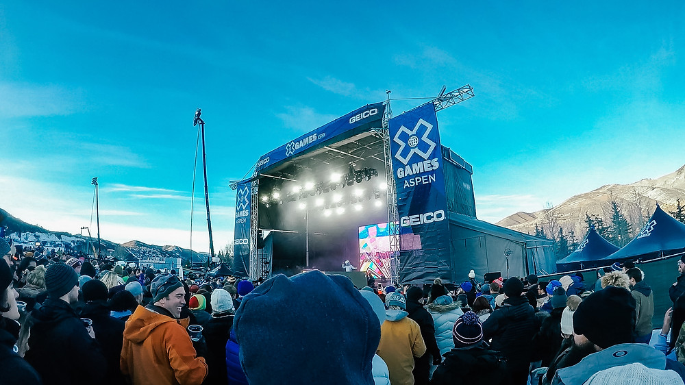 X Games Aspen music stage sunset