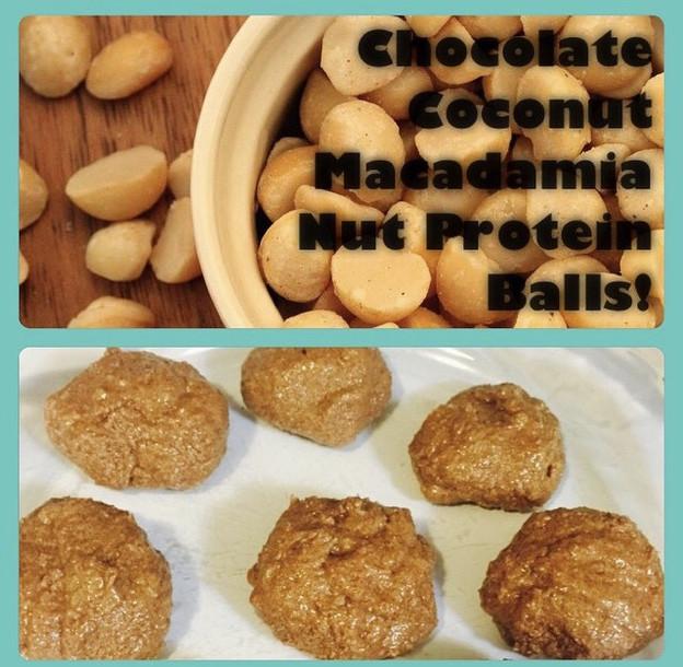 Chocolate Coconut Macadamia Nut Protien Balls