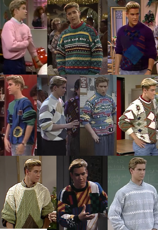 4 to 1 - Zack from Saved By The Bell probably warrants a blog post devoted entirely to him, but I'll just let him take the four top spots for ugliest knitwear of all time!