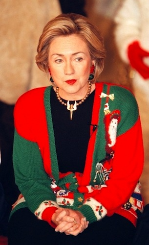 8. I'm not sure what Hilary Clinton was thinking here. But by the look on her face, she's regretting her choice of knitwear...
