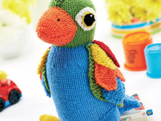 On the second month of #knitmas Cygnet Yarns gave to me - 2 knitted parrots and a crocheted bunny