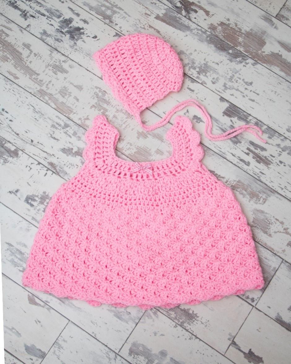 Scallop Dress for Newborns Pattern by Cygnet Yarns