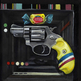 Why I painted a hand gun with bubble gum floating over it.