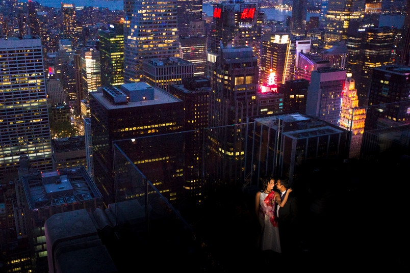 Gina and Dharav, Brooklyn Bridge and Rockefeller Engagement shoot