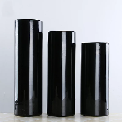Ваза черная стекло цилиндр 30см