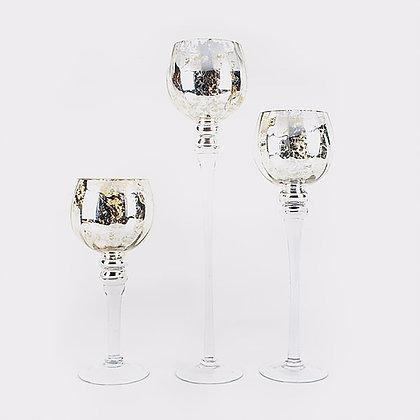 Набор стеклянных ваз патина 30-40-50 см