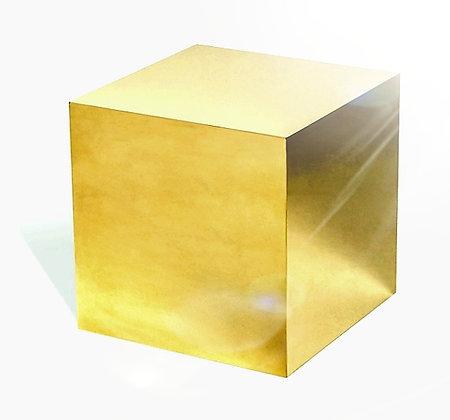 Золотой зеркальный  куб 40см