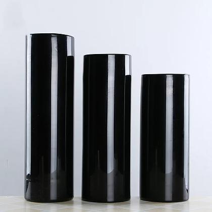 Ваза черное стекло цилиндр 40см