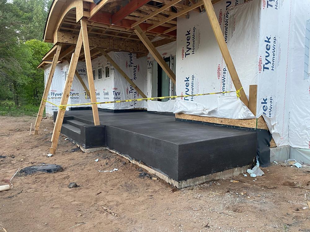 black concrete porch