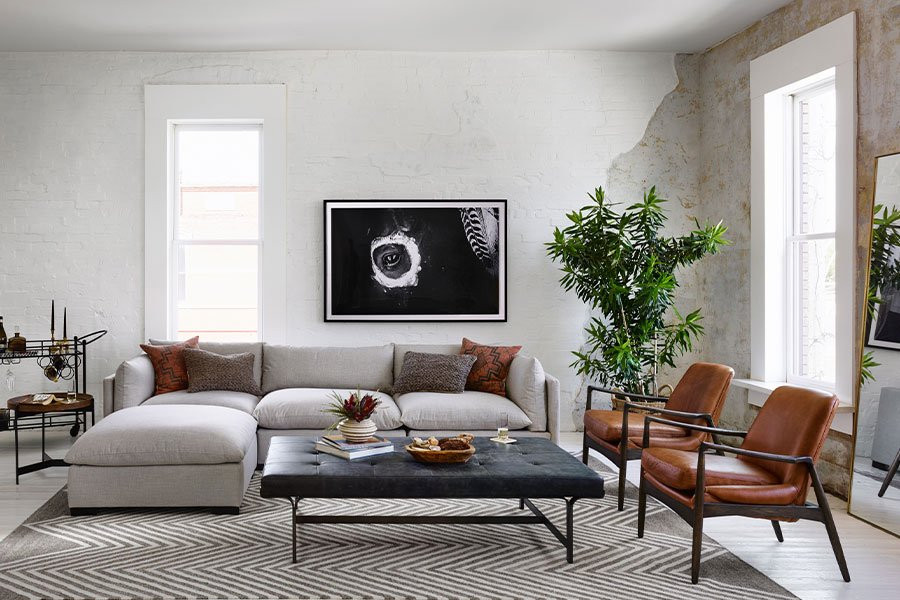 mid century furniture living room plaster walls