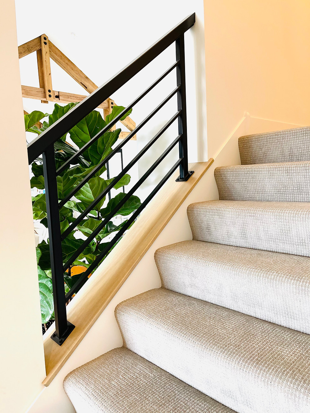 vertical iron railing gray loop carpet