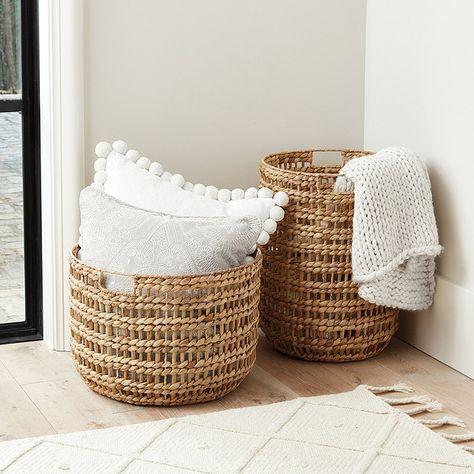 wicker baskets pillows blankets rug