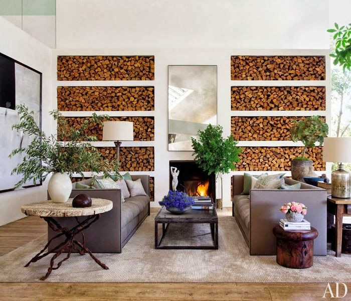 Living room, built-in firewood storage, natural greenery
